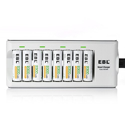 EBL Rechargeable AA Batteries 2300mAh Long Lasting Battery (8 Counts) with Battery Charger for AA AAA Batteries ()