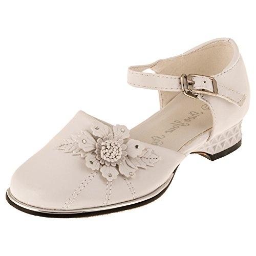 Beige Ballerina Mädchen Schuhe mit Blume festliche Mädchenschuhe Taufschuhe Lackschuhe Taufe Kommunion Hochzeit Feier