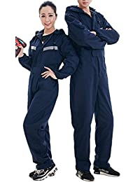 XinAndy Unisex Navy Blue Reflective Hoodies Coverall Elastic Waist