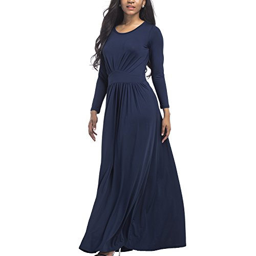 Chns Women's Plus Size Crew Neck Long Sleeve Pleated Loose Swing Casual Maxi Dress Ladies Spring Autumn Dresses