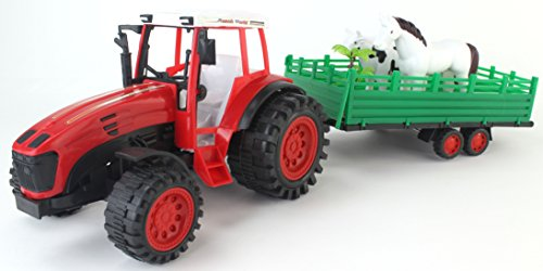 Ranch World Farm Series Friction Powered Red Toy Tractor Trailer Playset w/ Accessories & Animal Figures