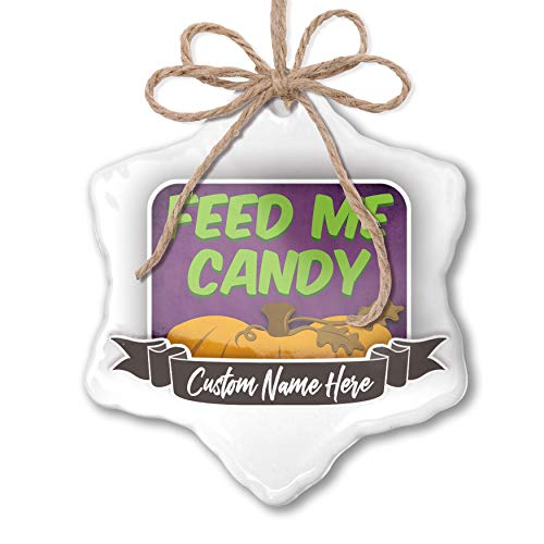 NEONBLOND Create Your Ornament Feed Me Candy Halloween Pumpkin Top Personalized -