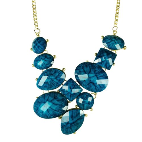 Wrapables Faceted Resin Bubble Bib Statement Necklace-Blue
