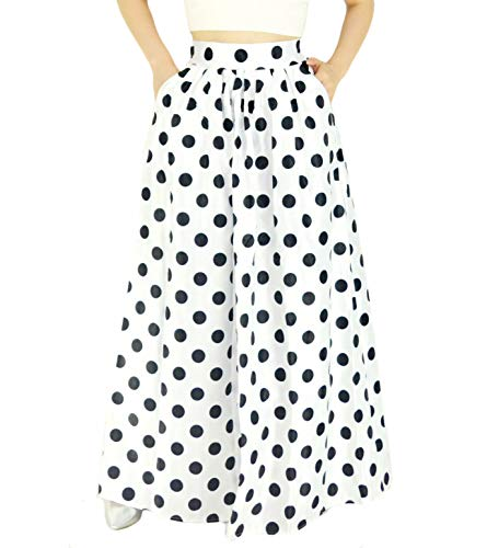 YSJERA Women's High Waist A-Line Pleated Maxi Skirts Party Swing Skirt with Pockets (14, White Dot)
