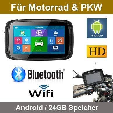 Elebest 5 Zoll Motorrad/PKW & Wohnmobil Navigationsgerä t,Bluetooth,Wasserdicht,Neuste Europa Karten sowie Radarwarner, 24GB Speicher,W-LAN,Internet