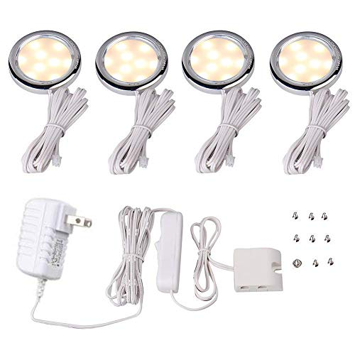 (Cefrank LED Display Lighting Under Cabinet Kit - Plug-in 4 Pack Puck Light - Warm White 3000K)