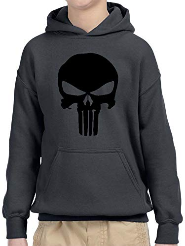 (New Way 1152 - Youth Hoodie The Punisher Skull Blackout Unisex Pullover Sweatshirt Large Charcoal)