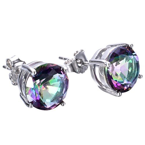 925 Sterling Silver Opal Stud Earrings, 6mm Round Stud Earrings in White Gold or Rose Gold for Women (Rainbow Color-8mm)