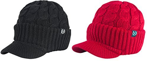 Newsboy Cable Knitted Hat with Visor Bill Winter Warm Hat for Women in Black, Charcoal, Dark Brown, Hot Pink, Red, White (Black & (Red Beanie Visor)