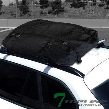Universal Silver Adjustable Aluminum Window Frame Roof Rack Cross Bars Kit + Black Cargo Carrier Waterproof Utility Bag ()