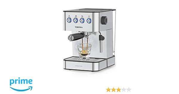 PRIXTON - Cafetera Express/Cafetera Automatica con 20 Bares, Potencia 850W, Portafiltro de Doble Salida para 2 Cafés y Vaporizador Integrado para ...