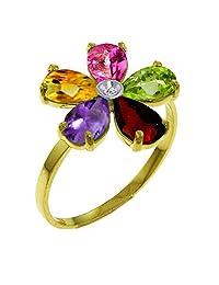 Galaxy Gold 2.22 Carat 14K Solid Yellow Gold Ring Natural Diamond Multi Gemstones