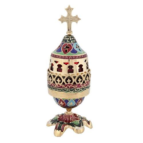 Colored Enamel Coated Brass Orthodox Vigil Lamp (173 C)
