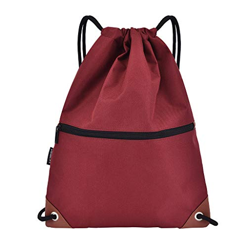 Drawstring Backpack Waterproof Sports Gym Bag for Women Men Solid Colors Bundle Rope Sport Backpack School Bags(Red)