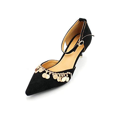 talones elegante Transpirable correspondencia Moda la 35 La Con Lentejuelas 37 4cm Negro Zapatos Toda de Cordones punta Sandalias Ajunr fina una EqTd5E