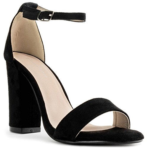 RF ROOM OF FASHION Open Toe Covered Chunky Block Heel Sandals - Dressy Vegan Single Sole Ankle Strap Sandals Black (7.5)