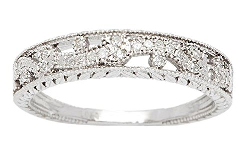 10k Rhodium-Plated White Gold Vintage-Style Diamond Anniversary Band (1/8 cttw, I-J, I2-I3) by Instagems