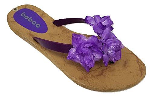 Women's Hawaiian Floral Strap Summer Beach Thong Flip Flops Slippers Sandals (10, Purple) -