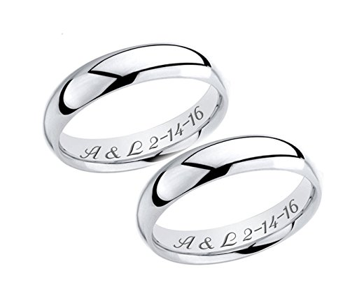Personalized Sterling Silver Ring Set Custom Engraved (Custom Mens Wedding Bands compare prices)