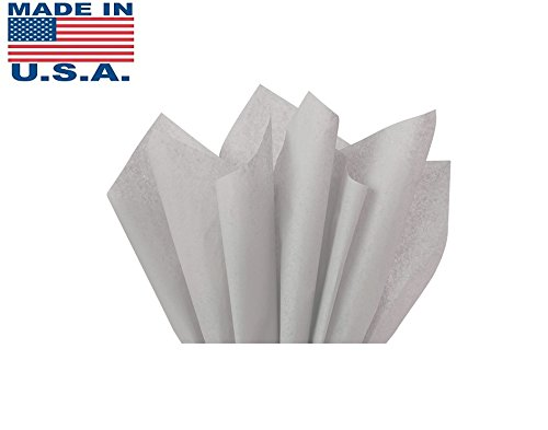 Wrap Tissue Paper (Grey Gray Bulk Tissue Paper 15 Inches x 20 Inches - 100 Sheets)