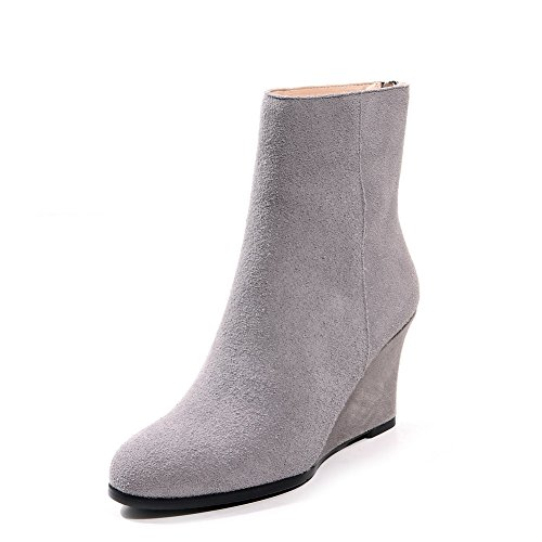 AmoonyFashion Women's Zipper Cow Suede High-Heels Low-Top Closed Toe Solid Boots, Gray-Back Zipper, 39