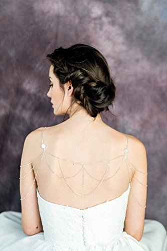 no see long time Shoulder Necklace, crystal Shoulder Jewelry, Bridal Body Jewelry, Modern Bridal Necklace, Gold Bohemian Necklace. by no see long time (Image #5)