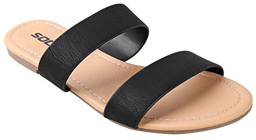 SODA Women's Browse Dual Straps Slip On Sandals Black Leatherette 8.5