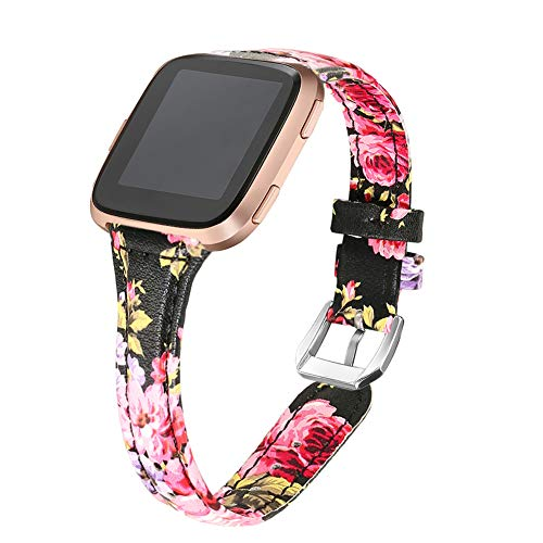 bayite Bands Compatible Fitbit Versa, Slim Genuine Leather Band Replacement Accessories Strap Versa Women Floral Pattern 6