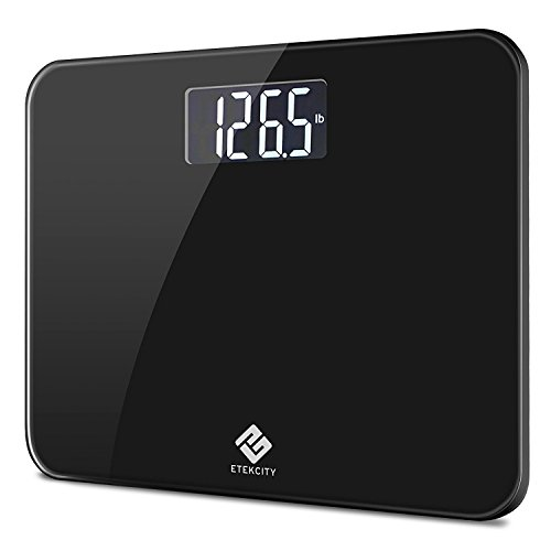 Etekcity Digital Body Weight Bathroom Scale with Step-On Technology, 440 Pounds, Body Tape Measure Included (Black) EB441OB by Etekcity