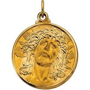 Or jaune 14 carats-visage de Jésus Ecce Homo JewelryWeb 21 mm