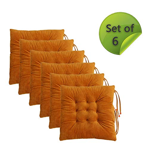 Comfy Soft Non Slip Chair Pads Seat Cushions Cover Orange with Ties for Dining Chairs, Office Chairs, Hardwood Floors, 100% Polyester Set of 6