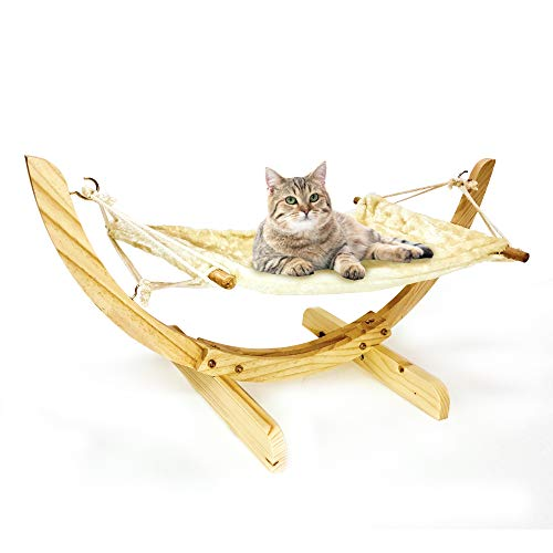 Luxury Cat Hammock, Cat Bed for Indoor, Perfect for Cats Ferrets & Small Dogs, Cat Bed Furniture, Wooden Hammock Bed…