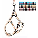 Oxford Plaid Step-in Adjustable Harness and Leash Set for Dogs and Cats – Beige Plaid, My Pet Supplies