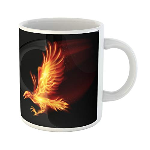(Semtomn Funny Coffee Mug Red Fire Raster Flaming Hawk on Fenix Wing Bird 11 Oz Ceramic Coffee Mugs Tea Cup Best Gift Or Souvenir )