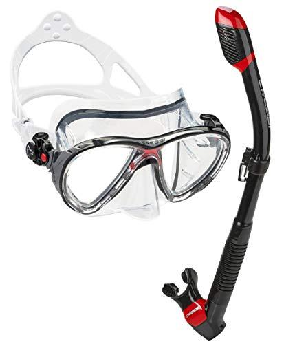 Cressi Italian Made Big Eyes Evolution Scuba Snorkeling Dive Mask, with Premium Sry Top Snorkel Set, Black/Red