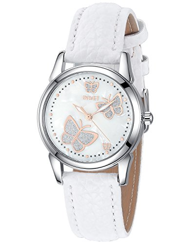 Pearl Quartz Watch - INWET Butterfly Women's Quartz Watch with Mother of Pearl Dial and White Leather Strap