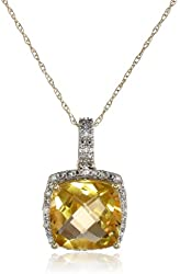 """10k Gold Gemstone and Diamond (0.1cttw, G-H Color, I2-I3 Clarity) Cushion Cut Pendant Necklace, 17"""""""