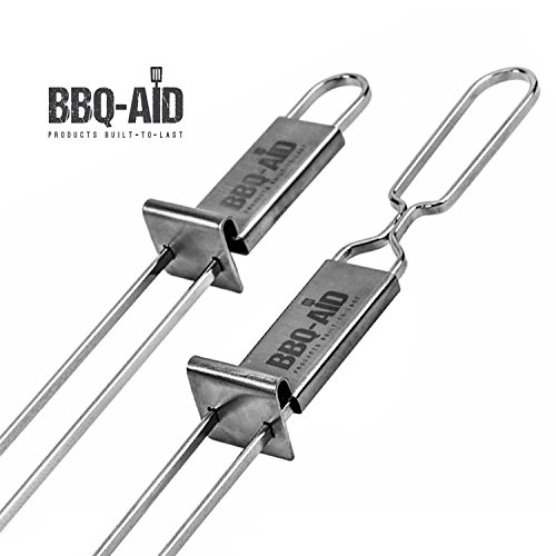 Premium Barbecue Skewers - Double Pronged, Quick Release Stainless Steel - Shish Kabob, Shrimp, Meat Chicken, Veggies & More - By BBQ - Aid (6 Pack) (Shrimp Grilling Skewers compare prices)