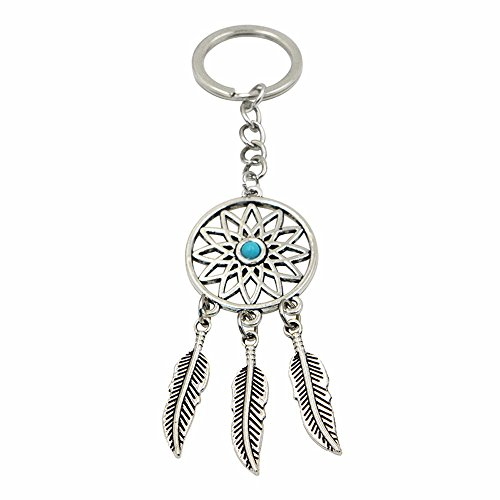 2016 Fashion Dream Catcher Tone Key Chain Silver Ring Feather Tassels Keyring - Dallas Shop Spy
