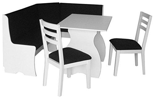 Eleganter Design Mod. Simplice-Ecksofa mit Tisch und zwei Stühlen Stoffbezug schwarz. Eckregal, Polsterbett in Schwarz.