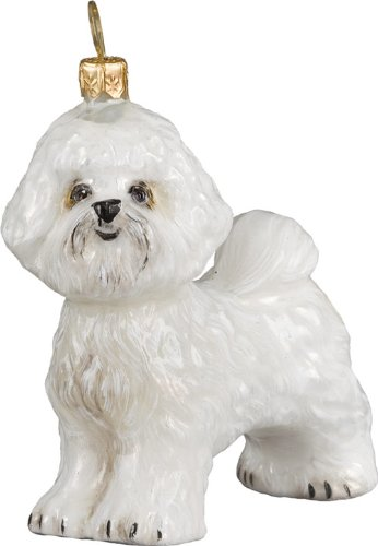 Joy to the World Collectibles European Blown Glass Pet Ornament, Bichon Frise