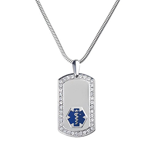 Divoti Custom Engraved Pure Titanium Medical Alert Necklace -Supreme Dog Tag-Stainless Snake (Engraved Medical Necklace)