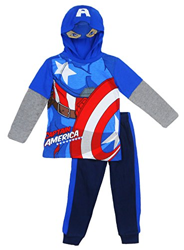 Marvel Little Boys' Captain America Or Spiderman Costume Hoodie and Pant Set, Blue, 6