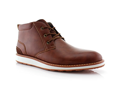 Mens Casual Chukka (Ferro Aldo Houstan MFA506031 Mens Casual Chukka Mid-Top Sneaker Boots – Brown, Size 9)