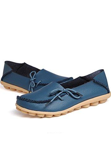 Flach Femme Pumpe Clair Chaussures Casual Bleu Cuir Matchlife Rétro Oxtqnvpp