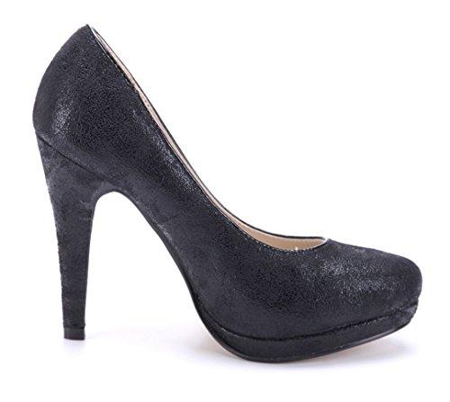 Schuhtempel24 Damen Schuhe Plateau Pumps Stiletto 11 cm High Heels Schwarz