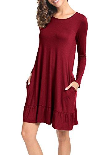 LAINAB Womens Fall Simple Scoop Neck Loose Swing Casual Short Dress Wine M