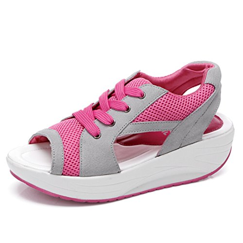 Hattie Womens Casual Mesh Lace up Peep Toe Sandals Platform Running Trainers Rose ifUbuTn