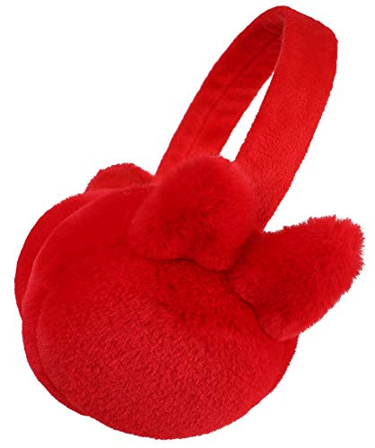 Simplicity Kid's Soft Plush Bunny Ear Foldable Winter Ear Muffs, Red -