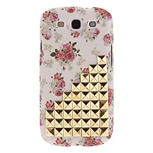 YULIN Hot Sell Fashion Beige Studded Studs Flowers Skin Cover Case for Samsung Galaxy S3 GT-i9300